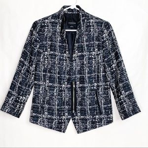 Trouvé Tweed Blazer With Leather Accents